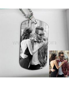 Photo Engraved Tag Pendant Necklace Christmas Gift