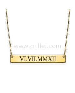 Gold Plated Silver Custom Name or Dates Plate Necklace Gift