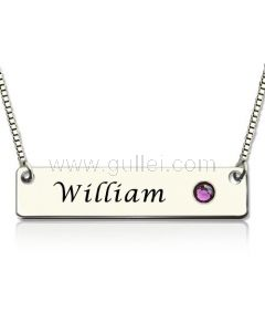 Gold Plated Silver Birthstone Name Plate Necklace