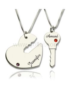 Lock and Key Birthstones Couple Necklaces Anniversary Gift
