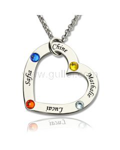 Family Names Birthstones Heart Necklace Christmas Gift