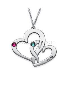 Birthstone Custom Names Connected Hearts Silver Pendant