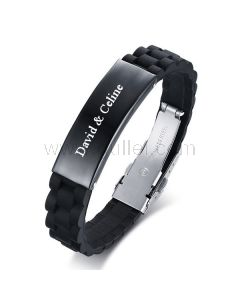 Personalized Mens Jewelry Silicone Wristband Stainless Steel Black
