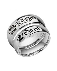 Engraved Her King His Queen Couple Rings Set