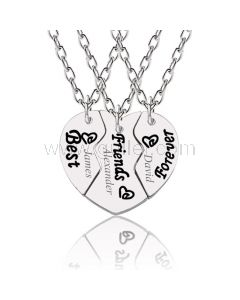 Bff Best Friends Forever 3 Piece Heart Necklaces Gift