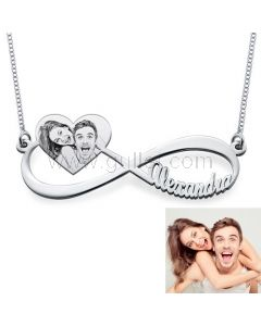 Personalized Photo Name Necklace K Gold Plated