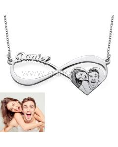 Custom Photo Print and Name Necklace Gift
