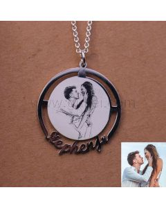 Lovers Photo Engraved Custom Name Necklace Gift