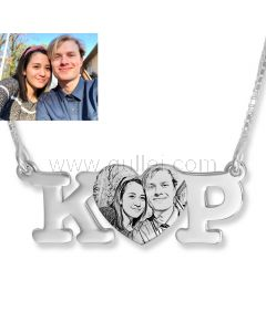 Initials Photo Engraved Name Necklace Anniversary Gift