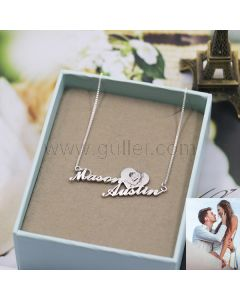 Couples Name Necklace Custom Photo Engraved
