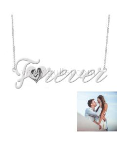 Forever Custom Photo Engraved Necklace Anniversary Gift