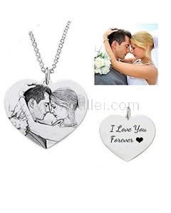 Heart Shaped Custom Photo and Names Engraved Necklace