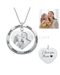 Mother Family Names Engraved Custom Photo Necklace Gift