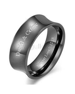 Personalized Promise Ring for Him 8mm Titanium
