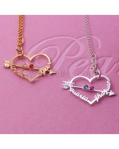 Heart Arrow Birthstone Name Necklace Sterling Silver