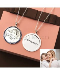 Gift for Mother Custom Photo and Names Engraved Necklace
