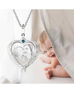 Heart Custom Photo Engraved Birthstone Necklace for Mom
