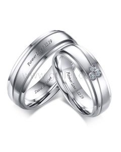 Engraved Couple Titanium Promise Rings for 2