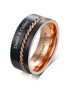 Personalized Mens Wedding Ring 8mm Gold Plated Titanium