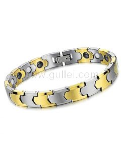 Gold Plated Tungsten Mens Sports Magnetic Bracelet