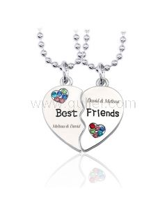 Bff Hearts Matching Necklaces Christmas Gift