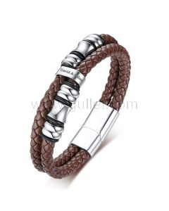 Personalized Leather Bracelet for Him