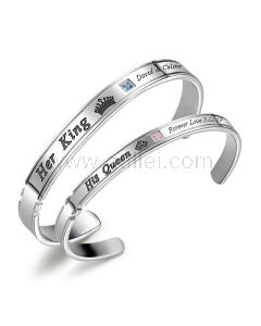 King and Queen Cuff Bracelets Gift for Couples