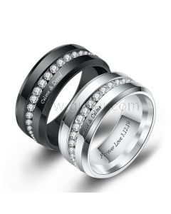 Engraved Couple Wedding Rings Set with Name
