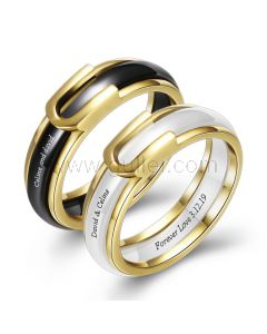 Matching Ceramic Promise Rings for Couple