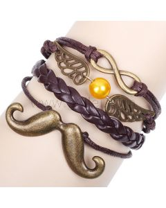 Mustache and Infinity Sign Leather Bracelet for Guys and Girls