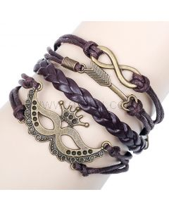 Mascot Infinity Sign Friendship Leather Braided Rope Bracelet