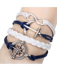 Anchor Charm Infinity Relationship Leather Bracelet