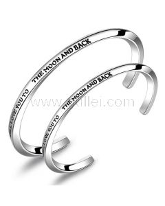 To the Moon and Back Cuff Bracelets for Couple