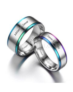 Anniversary Couple Rings with Custom Names