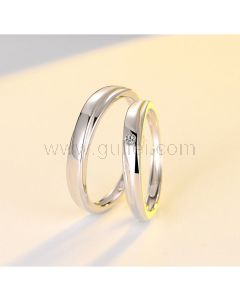 Personalized Sterling Silver Couple Mobius Rings Set for 2