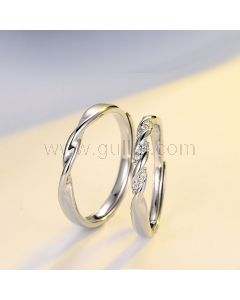 Engraved Couple Engagement Mobius Rings Set for two