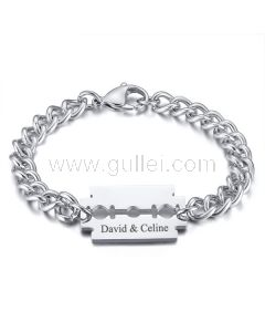 Personalized Adjustable Blade Mens Bracelet Stainless Steel Silver