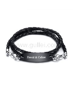Personalized Braided Wrap Promise Bracelet Stainless Steel