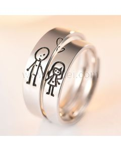 Cute Guy and Girl Promise Rings Set for Soulmates