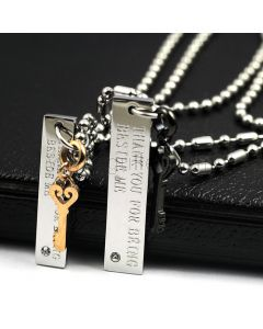 Custom Engraved Matching Keys His and Hers Necklaces Set for 2