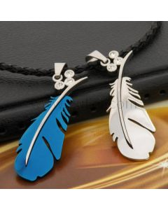 Personalized Feather Titanium Couple Necklaces for two