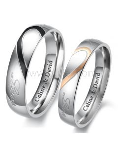 Custom Engraved Matching Half Heart Promise Couples Rings
