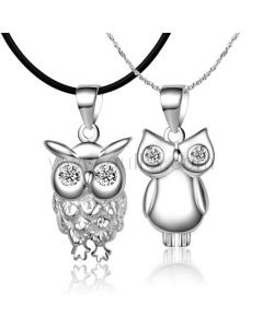 925 Sterling silver owl korean matching couple necklaces set for two