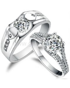 925 Sterling Silver Cubic Zirconia Personalized Wedding Rings Set for Two