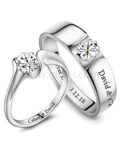 Custom Name Wedding Rings Sets for Couples Cubic Zirconium
