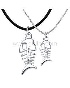 Sterling Silver Matching Fish Couple Necklaces with Engraving