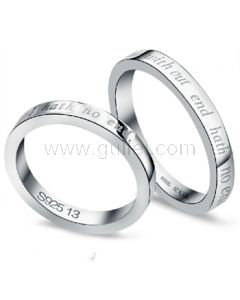 925 Sterling Silver Love Name Engravable Commitment Pair Rings Set for Two
