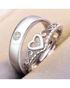Expandable Matching Heart Silver Unisex Wedding Bands for 2