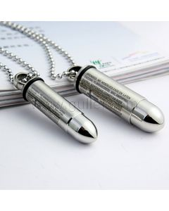 Custom Engraved Matching Bullets Couples Necklaces for two