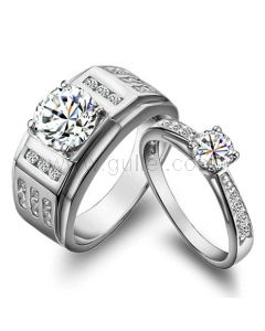 Personalized Synthetic Diamond Wedding Rings Set Sterling Silver